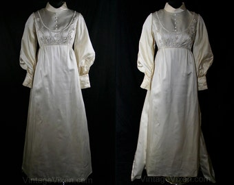Size 8 Wedding Dress - Regency Ivory Satin Bridal Gown with Daisy Pearls & Detachable Train - Long Sleeved Empire Style - Bust 34.5 - 34155