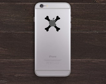 Apple Bones, Crossed Bones Vinyl iPhone Decal BAS-0262