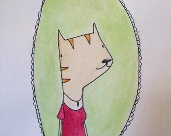 Cat Wall Art - Kids room art print - Nursery Art Print - Wall Decor