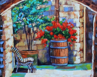 Art Painting Original Oil Artist Impressionism Flowers European Garden Canvas