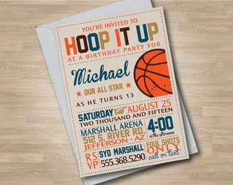 Basketball Birthday Invitation, Teen or Child Basketball Invite, Vintage Style Invitation, Hoop it Up