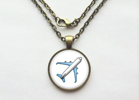 Airplane Emoji Necklace or Keychain