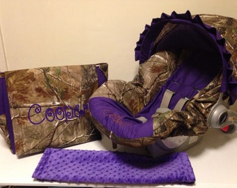 3 Piece Set REALTREE CAMO fabric and Purple infant Car Seat Cover with Canopy and Diaper Bag  with Free Monogram with tent