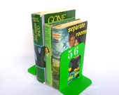 Small NEON GREEN Industrial Chic BOOKENDS/ Upcycled Metal Bookends