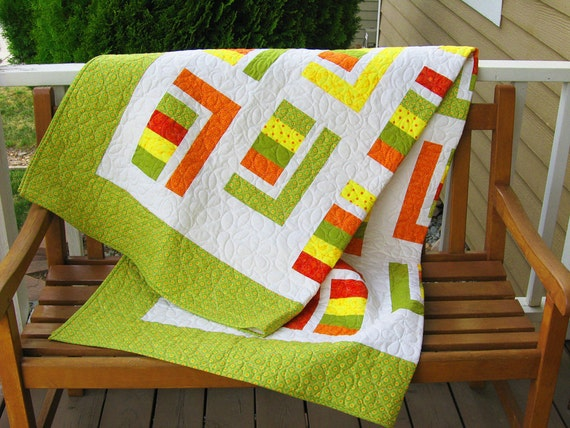 Twin Coverlet/ Throw Quilt in Juicy Citrus Colors