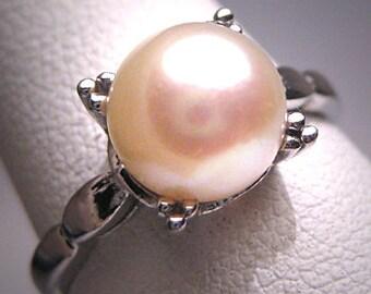 Antique Akoya Pearl Wedding Ring Vintage Art Deco 20s