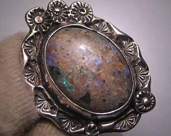 Vintage Australian Boulder Opal Ring Estate Handmade