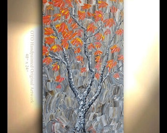 ORIGINAL Maple Tree Painting Vertical Hand painted Fall color Oil Painting Japanese Maple Artwork Fine art canvas by OTO