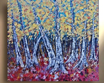 ORIGINAL Canvas Painting Aspen Tree Landscape art Birch Abstract Texture wall decor Artwork Fine art by OTO