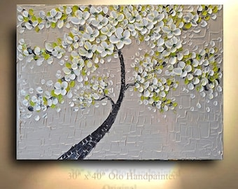 "Made to Order 72"" Impasto Painting Wall Decor Grey Green Leaf Tree white Flowers canvas Painting Winter Art artwork Heavily Textured by OTO"