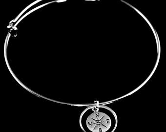 Compass Bangle Bracelet - Celestial Bracelet, Charm Bracelet, Stacking Jewelry