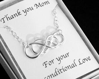 Infinity - Sterling Silver Double Infinity Bracelet - Card for Mom - Eternity Bracelet, Simplicity, Forever Bracelet, Love, Gift for Mom