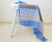 """Crochet blanket , Crochet baby blanket  , baby boy blue afghan , handmade baby blanket , stroller blanket , baby shower gift , 31""""X 29"""""""
