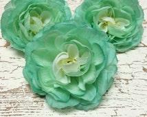 Silk Flowers - THREE AQUA MINT Green Ranunculus - Artificial Flowers