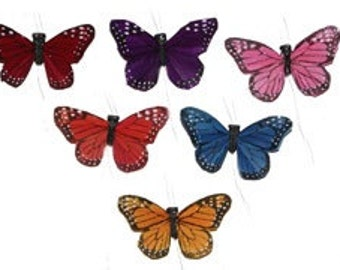 Feather Butterflies -12 Small Monarch Butterfly Embellishments in JEWEL TONES - 2 Inches - Artificial Butterflies