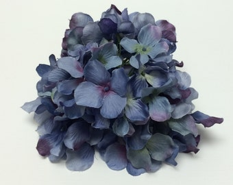 Silk Flowers - One Hydrangea Head in Shades of Blue with Purple and Green- Artificial Hydrangea