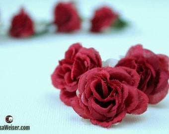 Artificial Flowers - Nine or 18 DEEP RED Mini Roses - Small Flowers, Miniature Roses on Short Stems