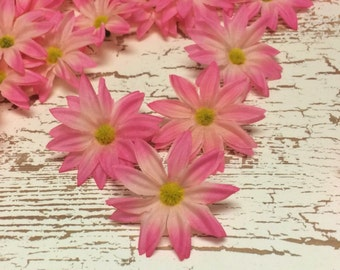 Artificial Flowers - 30 Artificial PINK Daisies - Flower Crown, Hair Accessories