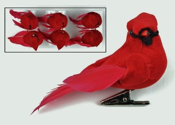 Artificial birds six decorative artificial cardinals on for Fake birds for crafts