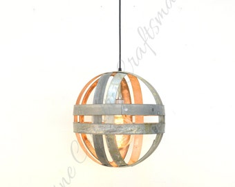 "ATOM - ""Maruta"" - Wine Barrel Mini Double Ring Chandelier -  100% RECYCLED"