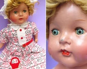 """Shabby Sweet Vintage Composition Doll - Antique Cottage Decor Tin Eyes 22"""" Old Character Baby Doll 1930s 30s Creepy Spooky Haunted Whimsical"""