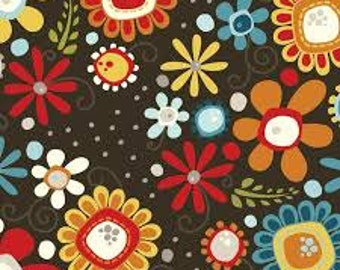 Fabric by the yard, Daisy Bouquet espresso, Adornit cotton fabric