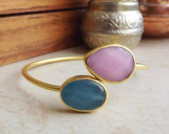 Pink Smokey Blue Jade Gemstone Stackable Bangle Bracelet - 22k Matte Gold Plated