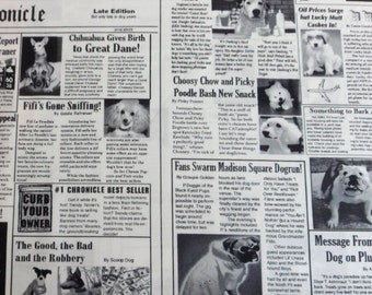 Black and White Newspaper Fabric  Canine News  Cotton Fabric with Dogs
