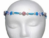 Cotton candy collection. Pink and blue daisy chain forehead band, headband or necklace, glass, metal ice cream pendant, hippie, renaissance