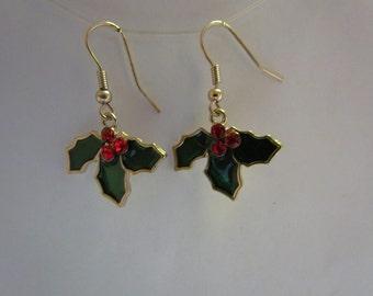 Green enamel holly leaf charm earrings  Christmas earrings red rhinestone earrings holiday drop earrings New Years earrings stocking stuffer