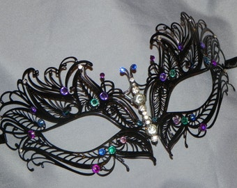 Laser Cut Masquerade Mask - with Teal, Turquoise, Blue and Purple Accents