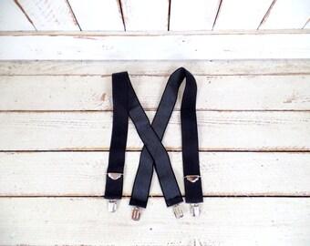Vintage wide black stretch silver clip suspenders/stretch canvas braces/black lumberjack suspenders