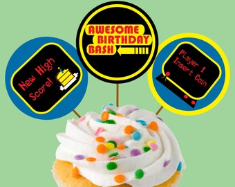 Instant Download Arcade Video Game Cupcake Toppers or Craft Circles