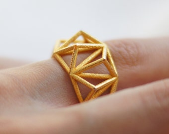 Geometric Prism Cage 3d Printed Ring- Polished Gold