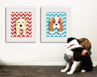 Chevron Puppy dog nursery art. Zig Zag Dog prints Puppy dog artwork for puppy nursery decor. Kids prints. SET of ANY 2 dog prints by WallFry