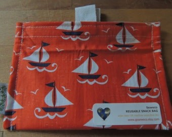 Sailboats Eco Friendly Snack Bag by Seweco/Easy Open /Child Friendly Tabs/FOOD SAFE