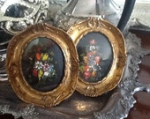 Vintage oval ornate brass picture frames oil painting by Tara Productions made in Italy pair