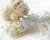 20% Off- Bridal  bouquet, Wedding bouquet, Burlap lace flowers, Bridesmaid bouquet, Crochet bridal bouquet. Rustic Lace  wedding flowers,