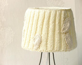 Table lamp, Drum lamp shade, Knitted fabric embellished decor from cream natural wool, Desk lamp, Bedside lamp, Country home decor.