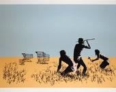 Banksy Print  - Trolly Hunters  - Multiple Paper Sizes