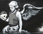 Banksy Canvas (READY TO HANG) - Cherub and Skull - Multiple Canvas Sizes