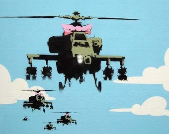 Banksy Poster Print  - Helicopter  - Multiple Paper Sizes