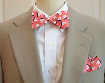 Pocket Square and Bow Tie (self-tie) in coral with navy and white sail boats