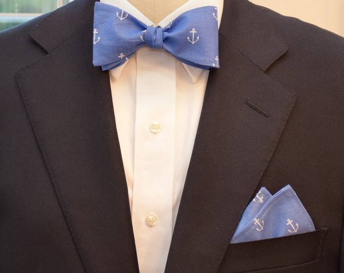 Men's Pocket Square & Bow Tie, cadet blue, white anchors, nautical gift set, gift for sailor, ocean lover's gift set, wedding party wear
