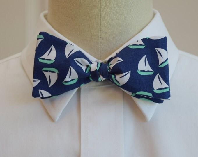 Men's Bow Tie, navy with mint sailboats, nautical bow tie, sailor bow tie, nautical theme wedding bow tie, ocean lover bow tie, groom bowtie
