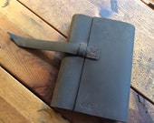 Albany journal, handmade leather refillable journal, 5x7 medium dark brown leather journal, refillable leather notebooks by Aixa book maker
