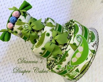 Baby Diaper Cake Sweet Peas in a Pod SELECT GENDER Shower Gift or Centerpiece