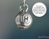 Eight Ball Charm Sterling Silver Miniature Billiards Playing Pool Tiny
