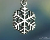 Small Snowflake Charm Sterling Silver Winter Snow Christmas Tiny .925