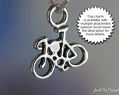 Bike Charm Miniature Sterling Silver Biking Bicycle Small Tiny .925